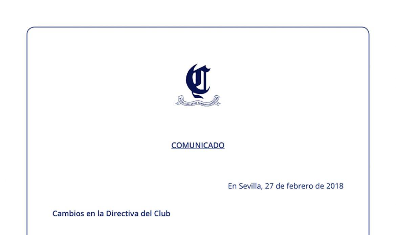 Cambios en la directiva del club