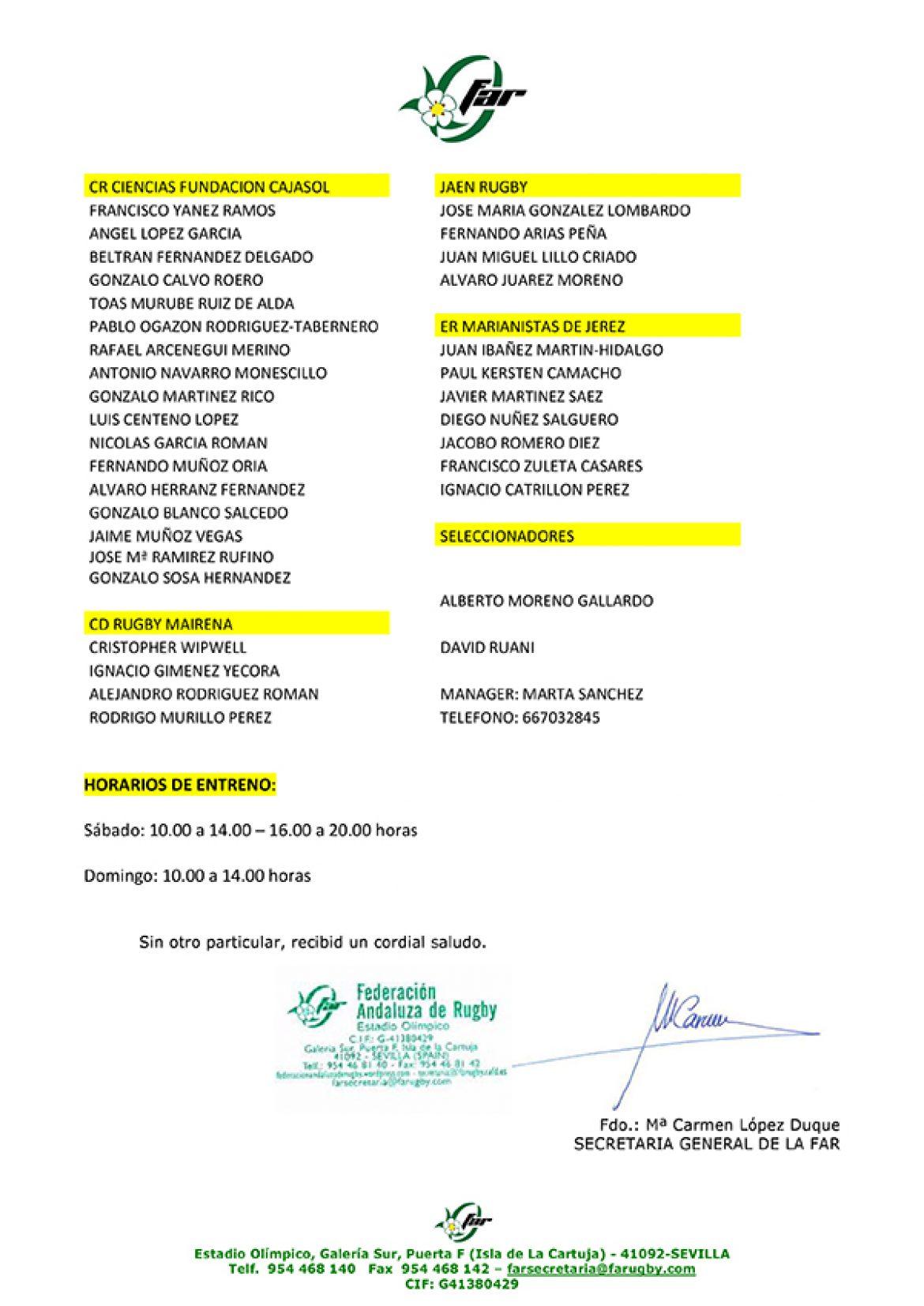 Primera convocatoria de la Selección Andaluza Sub 14