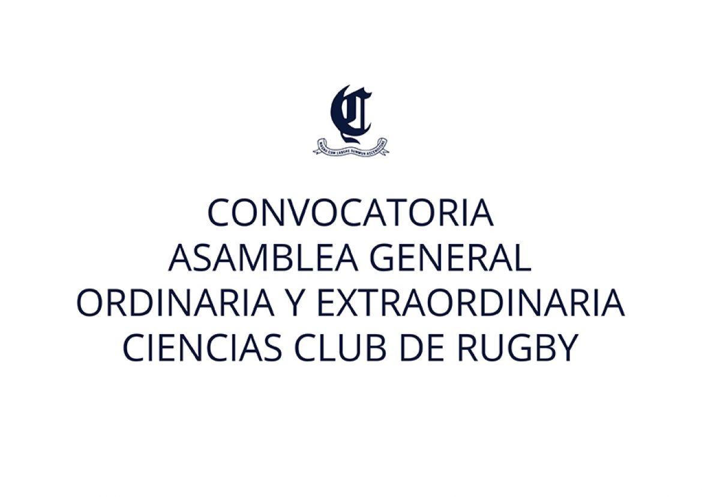 Convocatoria Asamblea General Ordinaria y Extraordinaria del Ciencias Club de Rugby