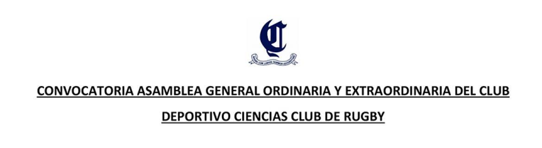 Convocatoria Asamblea General Ordinaria y Extraordinaria del club deportivo Ciencias Club de Rugby
