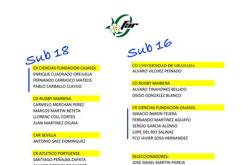 Sub18 y Sub16 con la Selección Andaluza